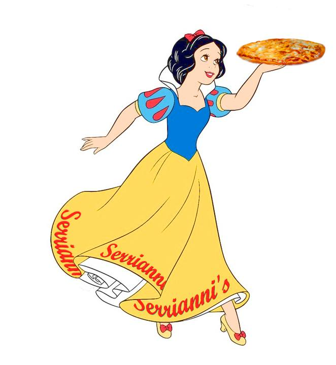 Snow White cartoon smiling and twirling with a pizza hoisted on her hand