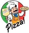 a small image of an italian chef holding up a pizza and holding a long handled pizza spatula with the serrianni's logo in the center